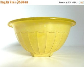 Mid Century 1950's Yellow Glass Mixing Bowl