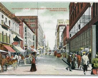 Petticoat Lane Street Scene Kansas City Missouri 1910c postcard
