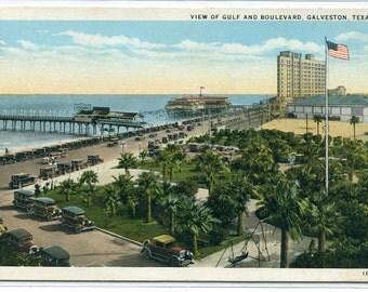 Gulf View Boulevard Galveston Texas postcard