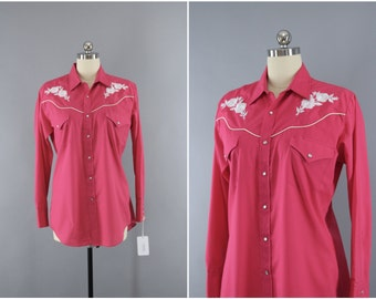 Vintage 1980s Embroidered Western Shirt / 80s Rockabilly / ELY / Hot Pink & White Floral Embroidery / Cowgirl Ranch Wear / 10 Medium Large