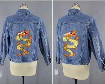 Golden Dragon Embroidered Denim Jacket / Jean Jacket / Dragon Embroidery / Size Large L