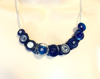 Cobalt Blue button necklace