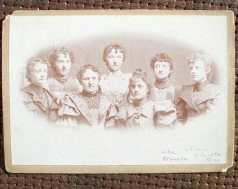 Cabinet Card - Ladies' Faces in a Crowd