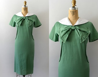1950s 1960s  Vintage Dress - 50s 60s Mod Green Cotton Sheath Dress