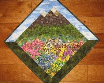 Blue Skies Summer Mountain Flowers Diagonal Art Quilt Wall Hanging, Textile Art, Landscape Art Quilt, Office Decor, Quiltsy Handmade
