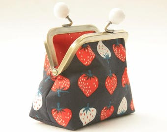 NEW Bronze metal frame coin purse/ jewelry purse/white bobbles/white and red strawberries on dark blue/Yours truly/Kim Kight