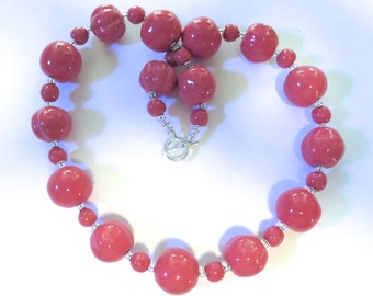 Pink Kazuri Necklace, Ceramic Jewelry, Kazuri Bead Necklace