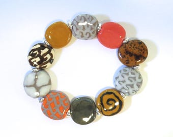 Beaded Bracelet, Kazuri Bangle, Fair Trade, Ceramic Jewellery,  Grey Brown and Orange Coloured Bracelet