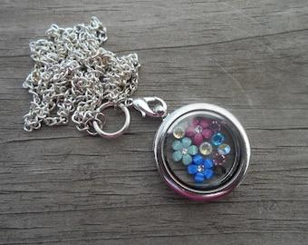 Floral Memory Locket Necklace