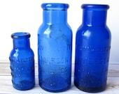 VINTAGE - 1920's Bromo-Seltzer Emerson Drug Co. Medicine Bottles Lot - Cobalt Blue