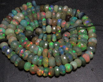 Black Welo Ethiopian Opal - 17 Inches Full strand - Gorgeous High Quality full Color Full Micro Cut Faceted Rondelle Beads size - 4 - 6 mm