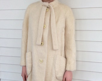 Mohair Coat Ivory Soft Vintage 60s Michaelson M S
