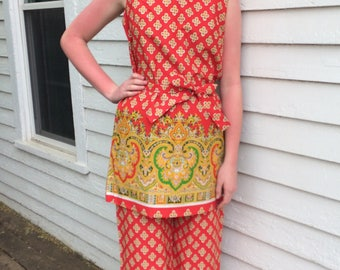 Ethnic Print Red Tunic Top Pants Blouse Vintage 70s Asian M