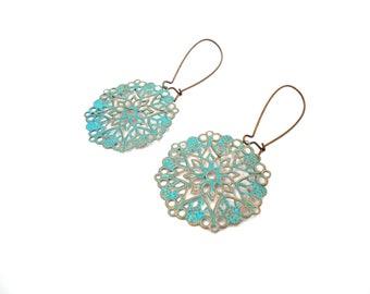 Mandala Earrings - Patina Earrings - Boho Earrings - Dangle Earrings - Turquoise Jewelry - Bohemian Earrings - Filigree Earrings - Gypsy