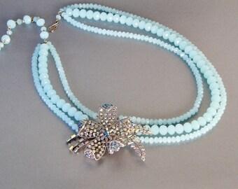 Aqua Lily Pad Necklace from Repurposed Vintage Rhinestone Pin