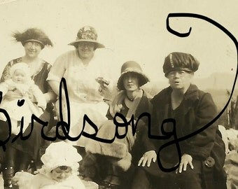 Vintage Fiesty Ladies in Hats Sitting on Rocks in a Row photo for digital download for digital or papercraft