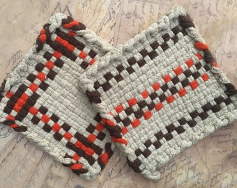 David's Potholders - Cotton Potholders - Orange Brown Natural Stripe Hot pads - Woven Pot Holders - Cotton Trivet - Handmade - Set of 2