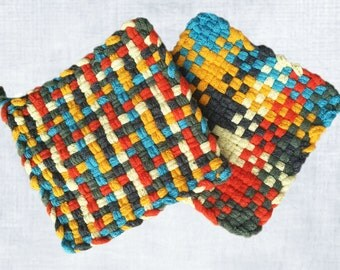 David's Potholders - Fiesta Multi Colored Cotton Potholders - Hot pads - Woven Pot Holders - Cotton Trivet - Handmade - Set of 2