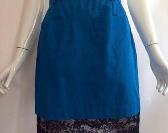 20% OFF SALE Vintage 1980s YSL yves saint Laurent vibrant blue twill peekaboo sheer black floral lace hem slim fitted pencil skirt pockets s
