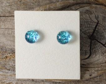 Dichroic Glass Earrings, Light Turquoise  DGE-893