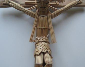 Vintage Straw Crucifix 1970s MEXICO