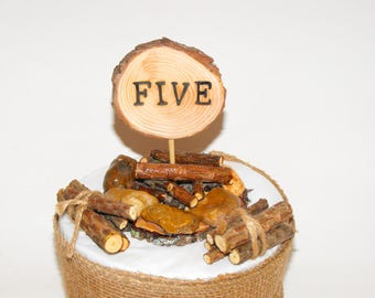 Camping Campfire & Logs Wood Cake Topper, Unique FIVE, 5th Woodland Birthday Party, 5th Anniversary, 5th  Birthday Lumberjack celebration