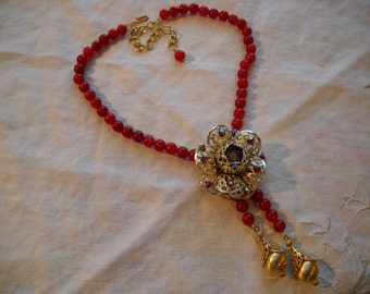 Repurposed Vintage Necklace Red Rhinestone Flower Pendant Carnelian Agate Beads FREE SHIPPING