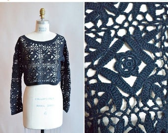 Reserved /40% OFF / 3 days only / Vintage 1980s black CROCHET cropped pullover