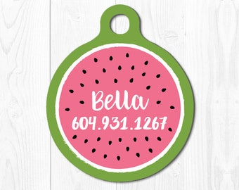 Pet Tags Dog Tag for Dogs Cat Tags Pet id Tag Pink Dog Tag for Dogs Cat Tag Watermelon Dog Tag Pet Gift Pink Custom Dog Tag Personalized