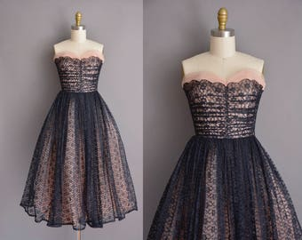 50s vintage dress. 50s strapless black and pink tulle lace vintage party prom dress