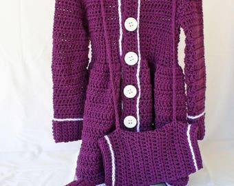 Girls coat hat muff set purple white 18 month crochet jacket beret child toddler feminine buttons collar dress coat children formal fashion