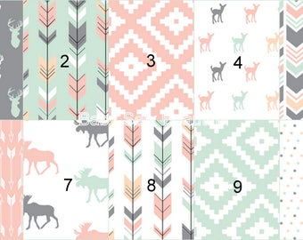 Custom Girl Rustic Buck Bedding, Woodland Bedding, Crib Bumper, Nursery Bedding, Crib Bedding, Toddler Bedding, Coral, Aqua, Gray, Pink, Elk