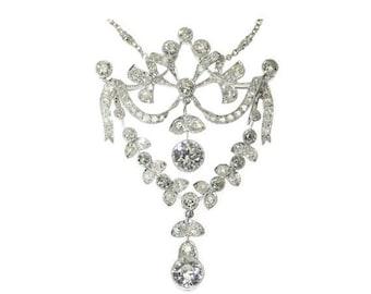 30% Off Winter Sale Belle Epoque diamond pendant necklace chain garland platinum