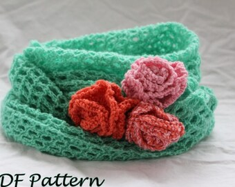KNITTING PATTERN-  Rose Infinity Scarf pattern in PDF