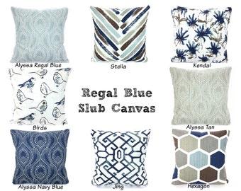 Blue Tan Brown Navy Pillow Covers, Decorative Throw Pillows, Cushions, Regal Blue Slub Canvas Birds Hexagon Geometric, ALL SIZES Mix & Match