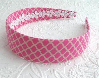 Preppy Headband ~ Pink Girls / Womens Wide Fabric Covered Plastic Headband