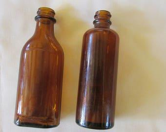 Vintage Brown Amber Medicine Bottles