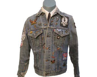 Vintage Levis Denim Jacket with Harley Patches Mens 1970s Southern Rock with Lynyrd Skynyrd and,Charlie Daniels Band Patches and Pins Sz S