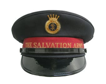 Salvation Army Officers Hat with Blood and Fire Shield Emblem Vintage Men's Navy and Red Salvationist for the Poor Military Cap Size 7 1/8