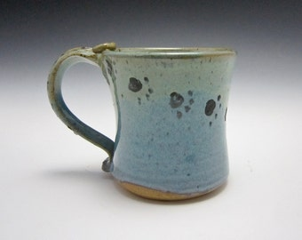 Ceramic Coffee Mug - Stoneware Coffee Mug - Pottery Mug - Blue Green - Paw Prints - Pottery Clay Cup - 14 ounce oz mug - Tea Cup