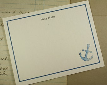 NEW! Anchor Nautical Sailor Boater Custom Notecard Stationery. Thank You, Any Occasion, Personalize Watercolor Print, Set of 10.