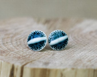 Porcelain Jewellery Blue Art Deco Stud Earrings by Mrs Peterson Pottery
