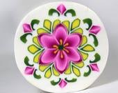 Raw Polymer Clay Round Pink Flower Kaleidoscope Cane