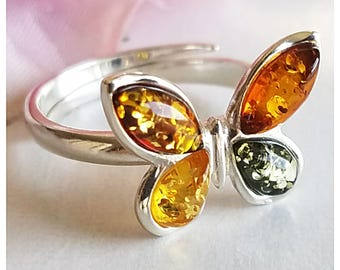 Amber Ring - Butterfly Silver Ring - Baltic Amber ring - Amber Jewelry - Multicolor Amber ring - Genuine Amber Ring - Real Amber ring