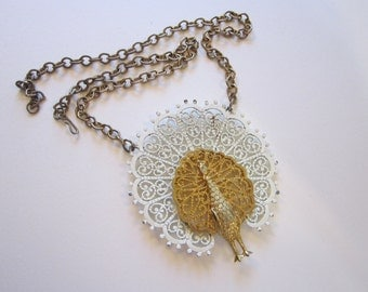 vintage figural PEACOCK necklace - white and goldtone, peacock pendant - Gold Crown Inc