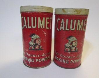 2 vintage CALUMET baking powder tins - Indian head graphics, metal tin, litho tin, vintage tins, baking soda tins