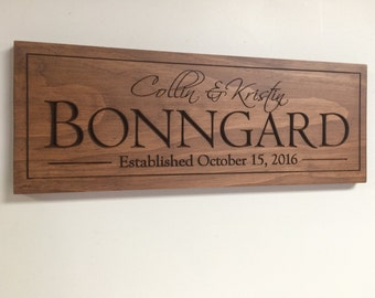 Family Name Sign, wood name sign, bridal shower gift, Bride and Groom, Carved Personalized Family Name