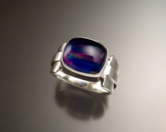 Large Amethyst and Lab Opal Doublet Ring Sterling Silver Size 8