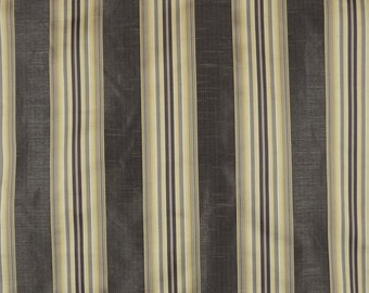 Candia Twilight Black Gold Striped Fabric