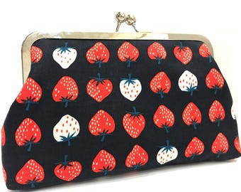 clutch purse - strawberry - dark navy blue - 8 inch metal frame clutch purse - large purse - kisslock - coin purse - clutch bag